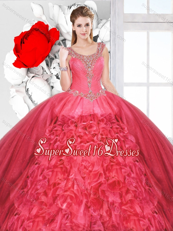 Inexpensive Scoop Sweet 16 Dresses with Beading and Ruffles