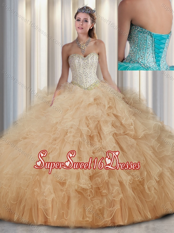 Beautiful Sweetheart Quinceanera Dresses with Beading and Ruffles for Fall