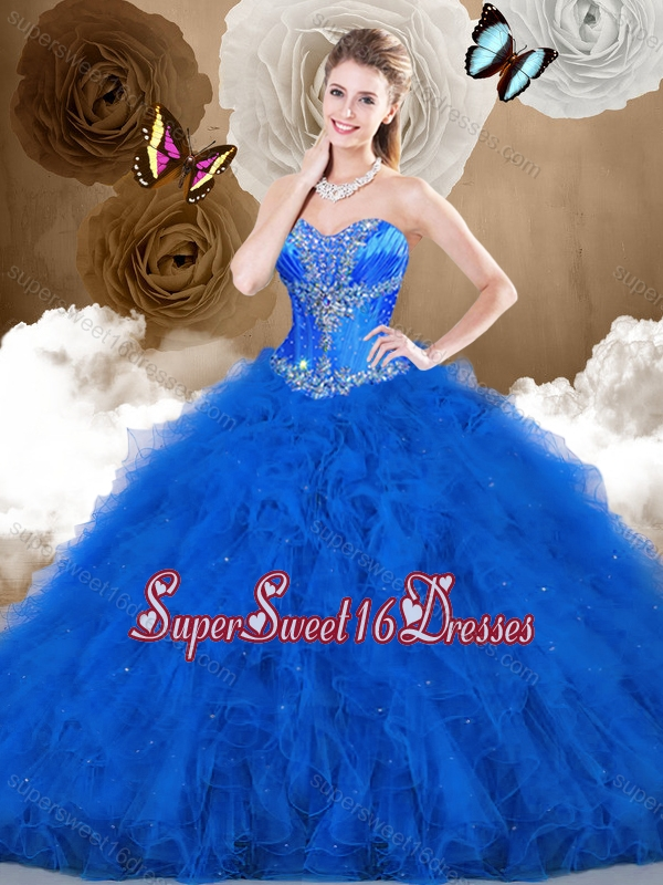 2016 Cheap Ball Gown Sweetheart Beading and Ruffles 15th Birthday Party Dresses