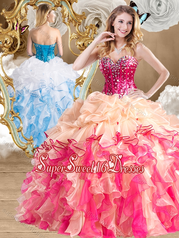 2016 New Style Multi Color 15th Birthday Party Dresses with Beading and Ruffles