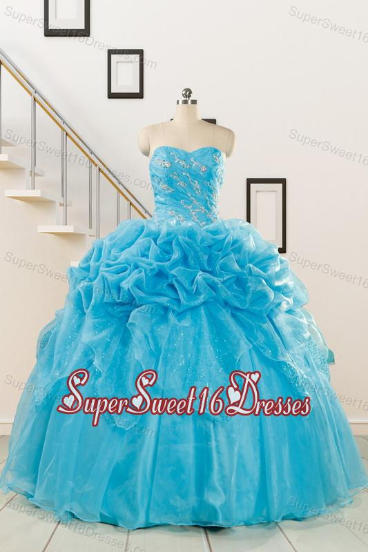 2015 Fashionable Sweetheart Beading Quinceanera Dress in Aqua Blue