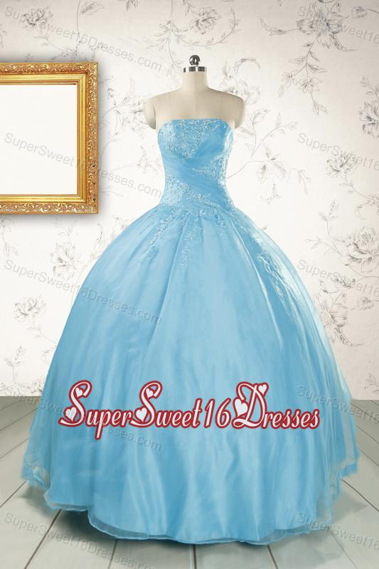 2015 Discount Strapless Beading Quinceanera Dress in Baby Blue