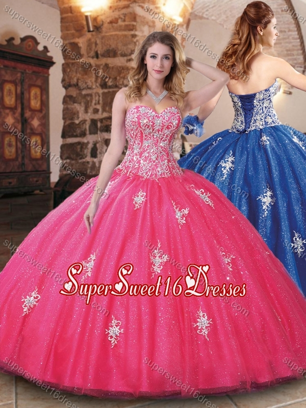 Modern Tulle Beaded and Applique Quinceanera Dress in Hot Pink