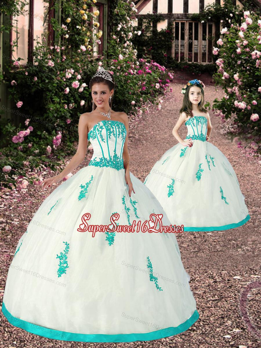 New Arrival Appliques Princesita Dress in White and Turquoise