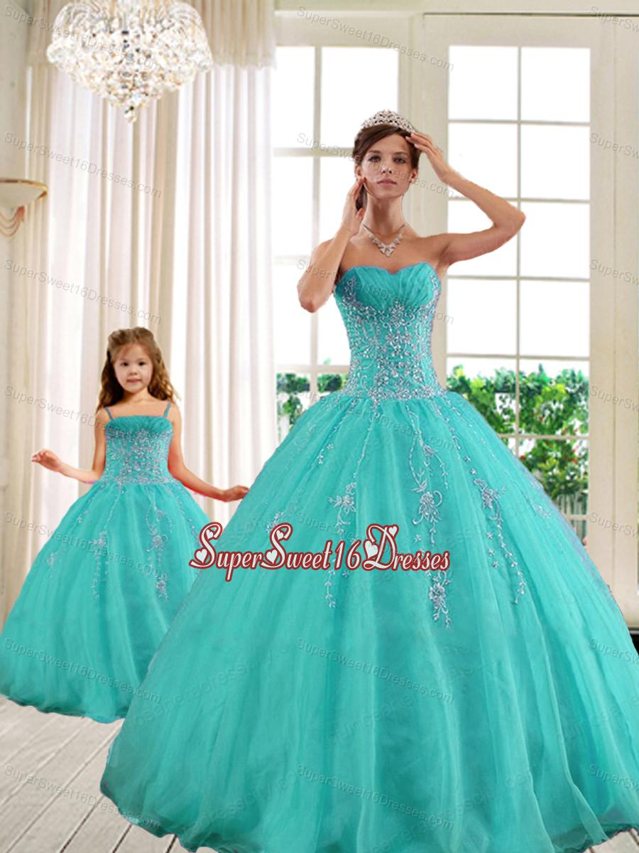 2014 Classical Turquoise Princesita With Quinceanera Dresses with Beading