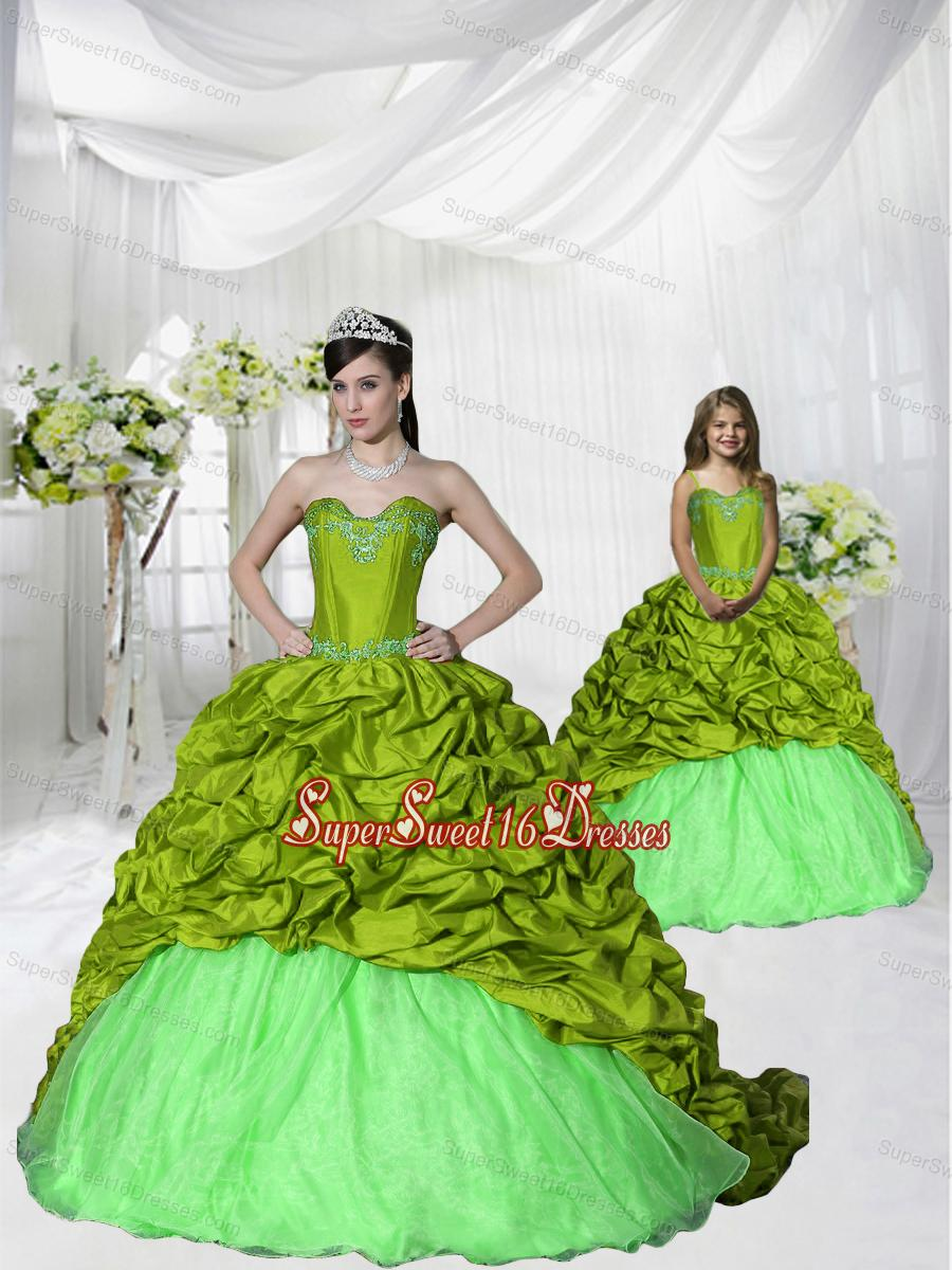 Most Popular Brush Train Olive Green Princesita Dress with Appliques and Pick-ups