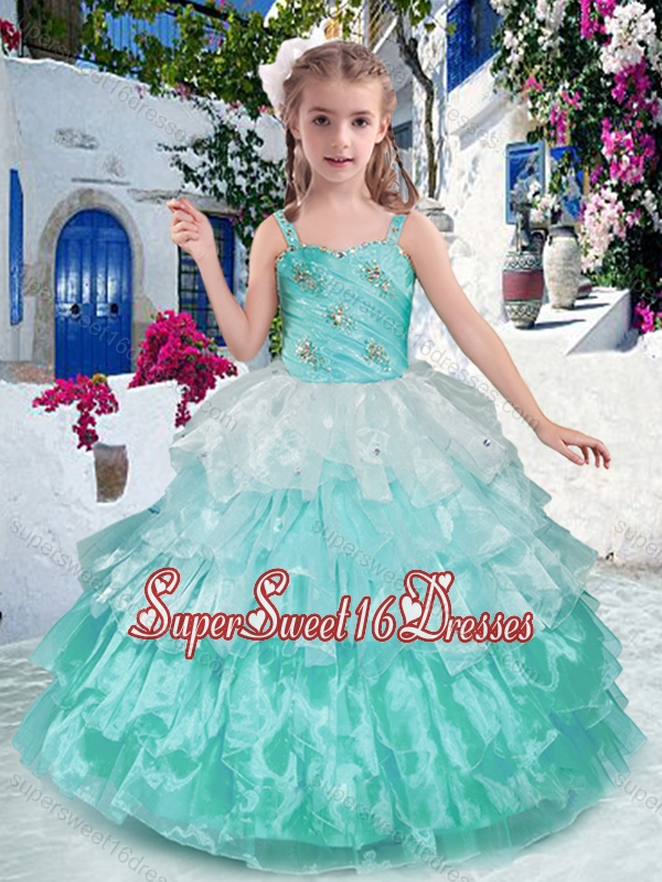 Luxurious Straps Ball Gown Little Girl Pageant Dresses with Ruffled Layers