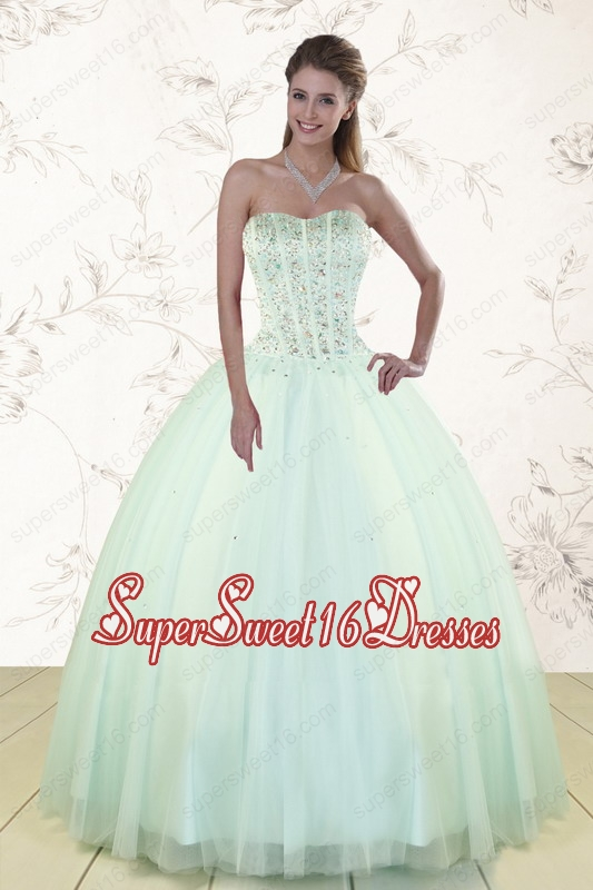 2015 The Brand New Style Strapless Sweet 15 Dresses with Beading