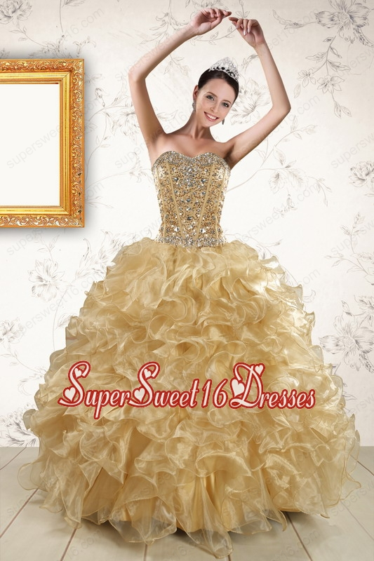 2015 Luxurious Ruffles and Beaded Quinceanera Dresses in Champagne