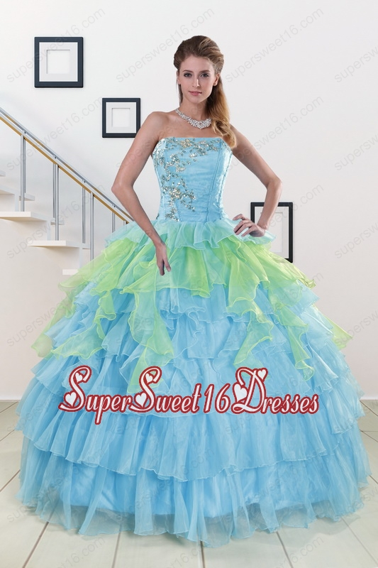 Pretty Strapless 2015 Quinceanera Dresses with Beading