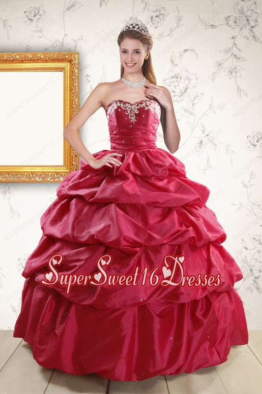 Appliques 2015 Hot Pink Quinceanera Dresses with Lace Up
