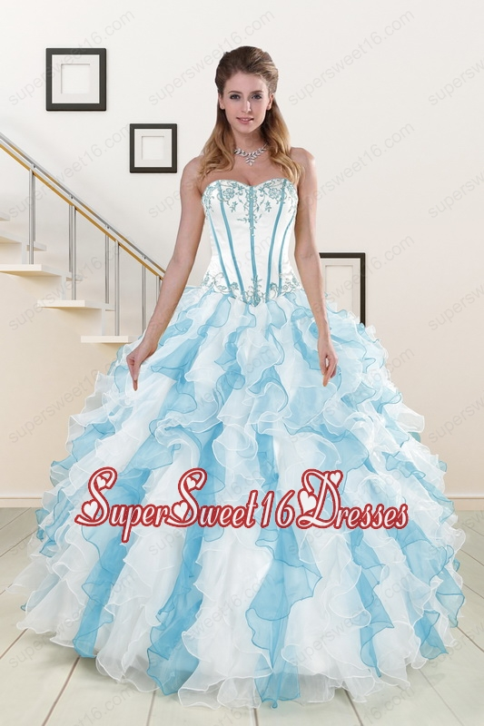Appliques and Ruffles 2015 Quinceanera Dresses in Multi-color