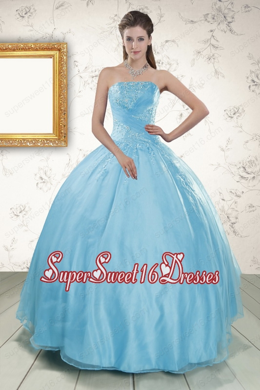 Strapless Beading 2015 Affordable Quinceanera Dress in Baby Blue