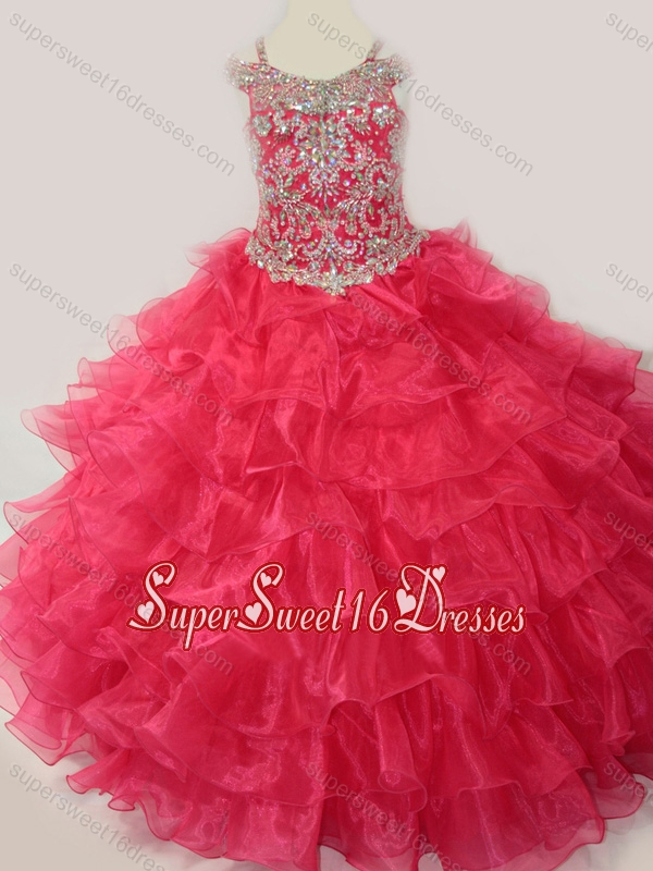 Cute Ball Gown Coral Red Beading and Ruffled Layers Little Girl Pageant Dress with Straps and Off the Shoulder