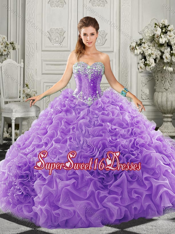 2016 Simple Beaded and Ruffled Lace Up Sweetheart Quinceanera Dress in Organza