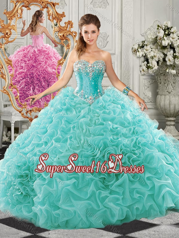 Classical Big Puffy Beaded and Ruffled Cheap Sweet Sixteen Dress in Organza