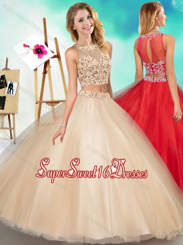 Two Piece See Through Scoop Sweet Sixteen Dress with Beading and Appliques