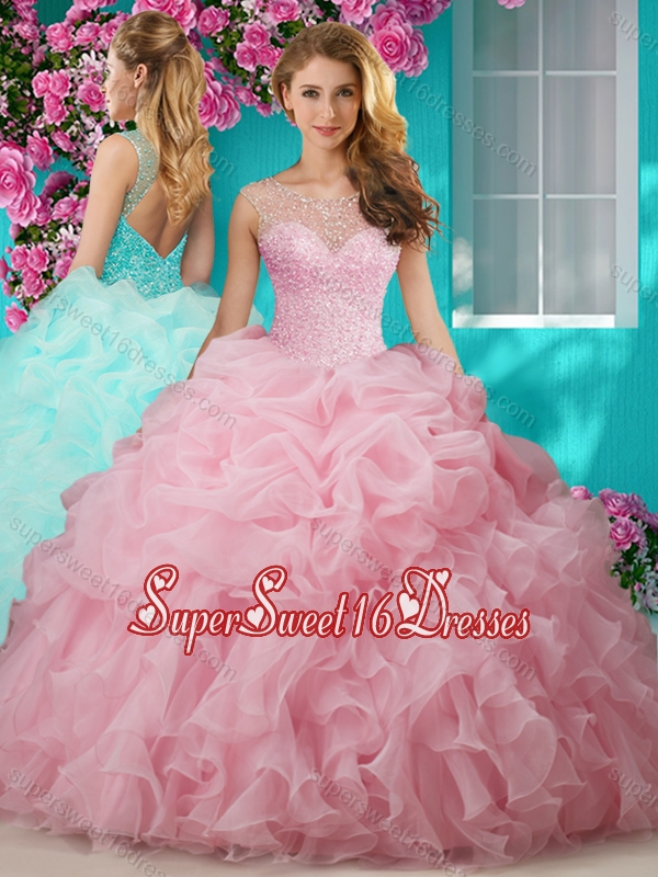 Lovely Beaded and Ruffled Big Puffy Quinceanera Gown with See Through Scoop
