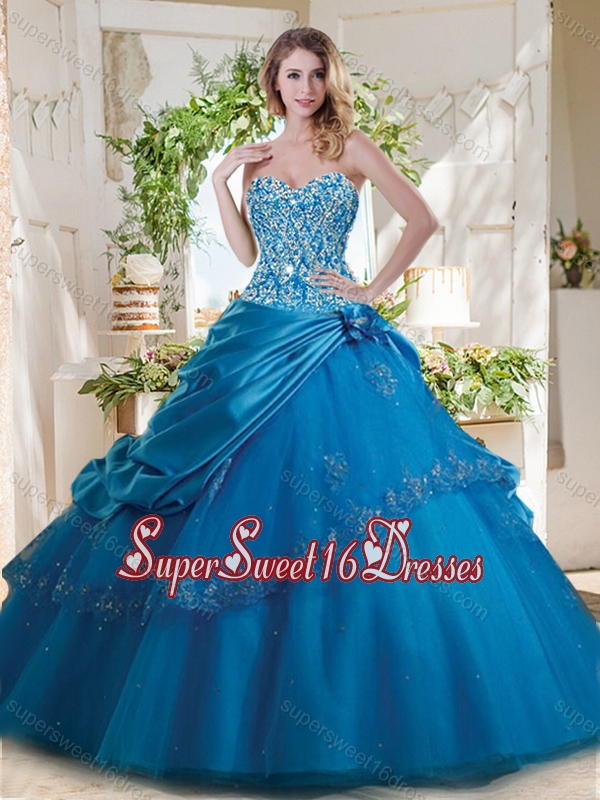 Fashionable Beaded and Applique Big Puffy Quinceanera Gown in Teal