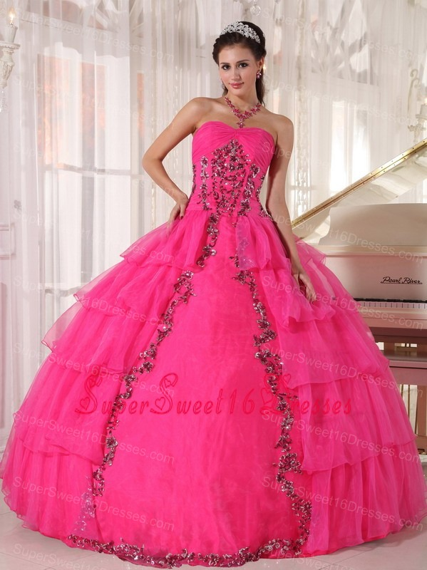 Fashionable Hot Pink Sweet 16 Dress Sweetheart Organza Paillette Ball Gown