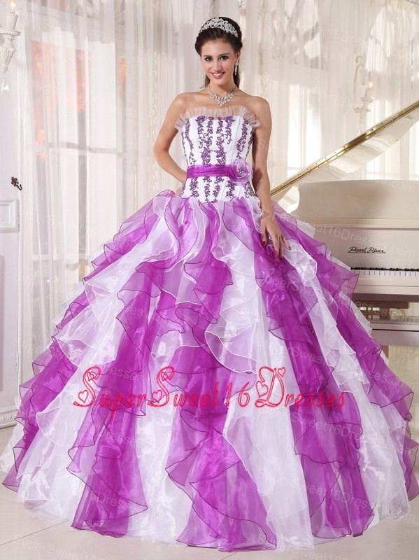 Beautiful Colorful Sweet 16 Dress Strapless Organza Beading Ball Gown