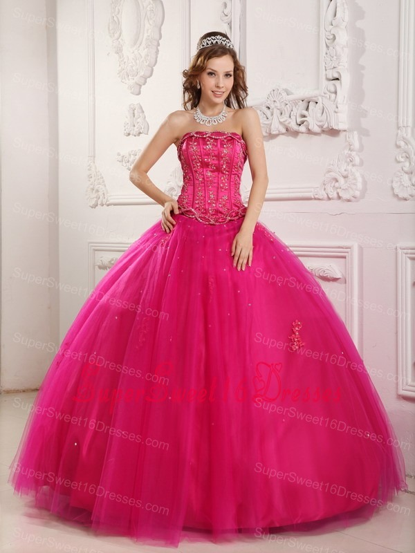 Elegant Hot Pink Sweet 16 Quinceanera Dress Strapless Tulle Beading Ball Gown