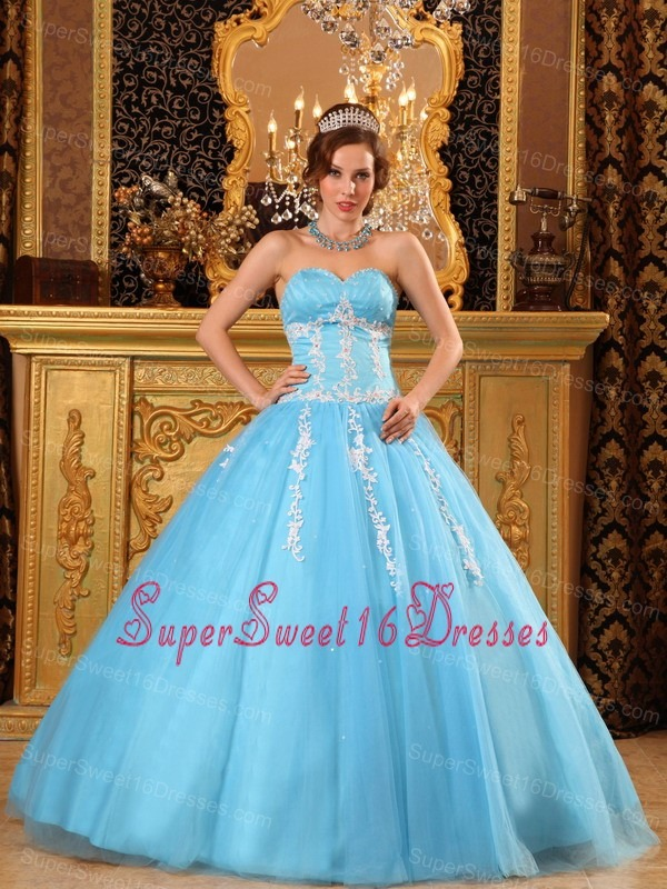 Popular Aqua Blue Sweet 16 Dress Sweetheart Tulle Appliques Ball Gown