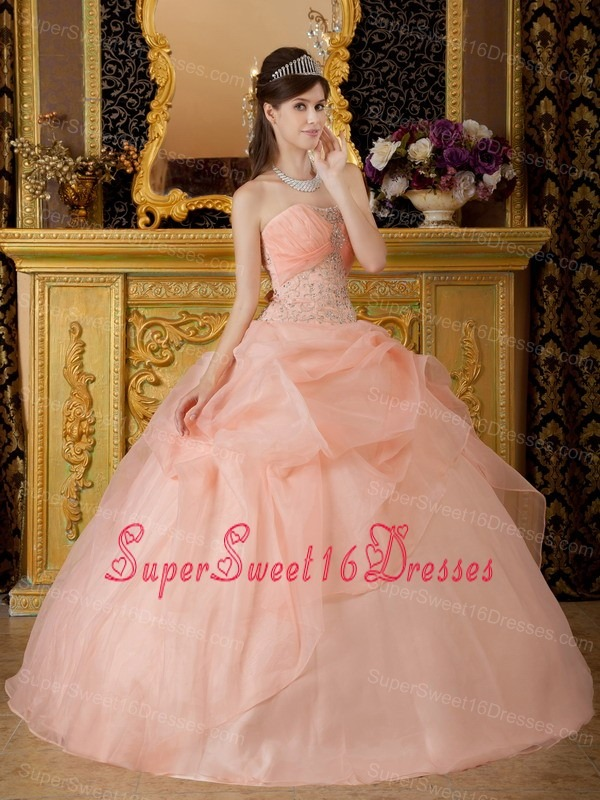 Romantic Baby Pink Sweet 16 Dress Strapless Organza Beading Ball Gown