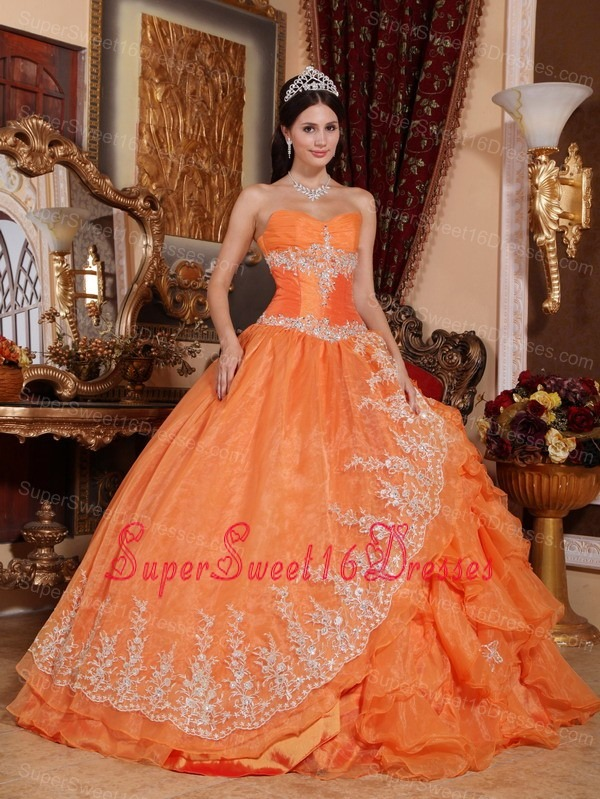 Gorgeous Orange Red Sweet 16 Dress Sweetheart Organza Beading Ball Gown