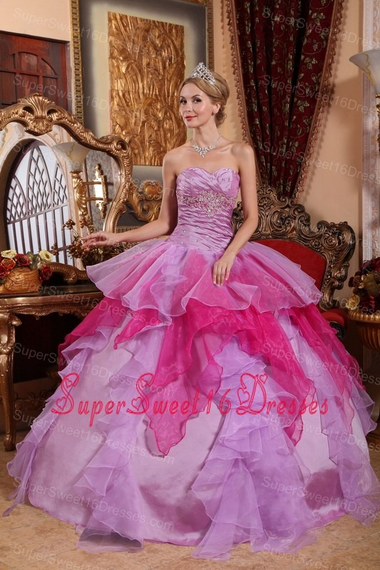 Affordable Lavender and Hot Pink Sweet 16 Dress Sweetheart Organza Beading Ball Gown