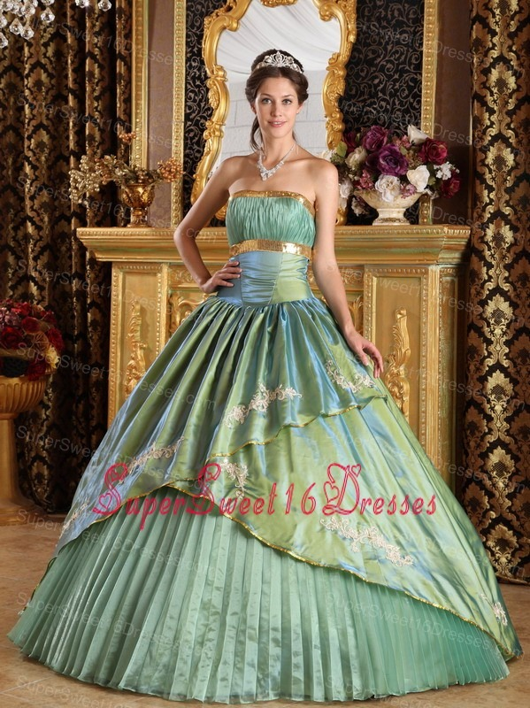 Discount Lemon Green Sweet 16 Dress Strapless Taffeta and Organza Appliques