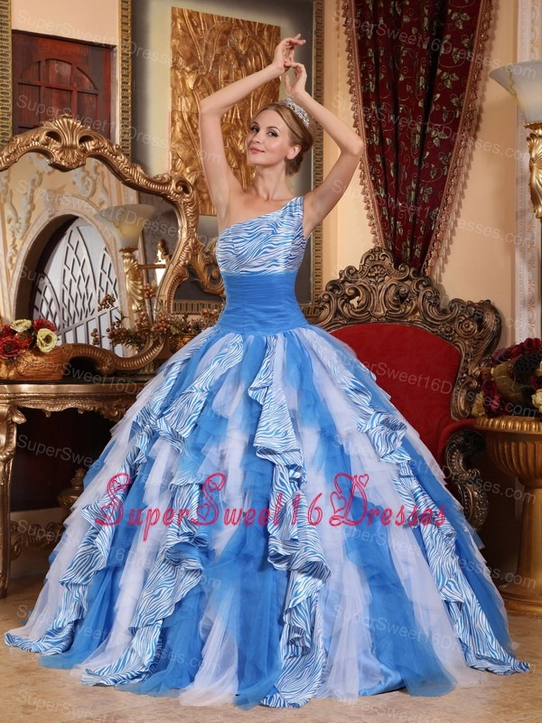 Fashionable Multi-color Sweet 16 Dress One Shoulder Ruffles Ball Gown