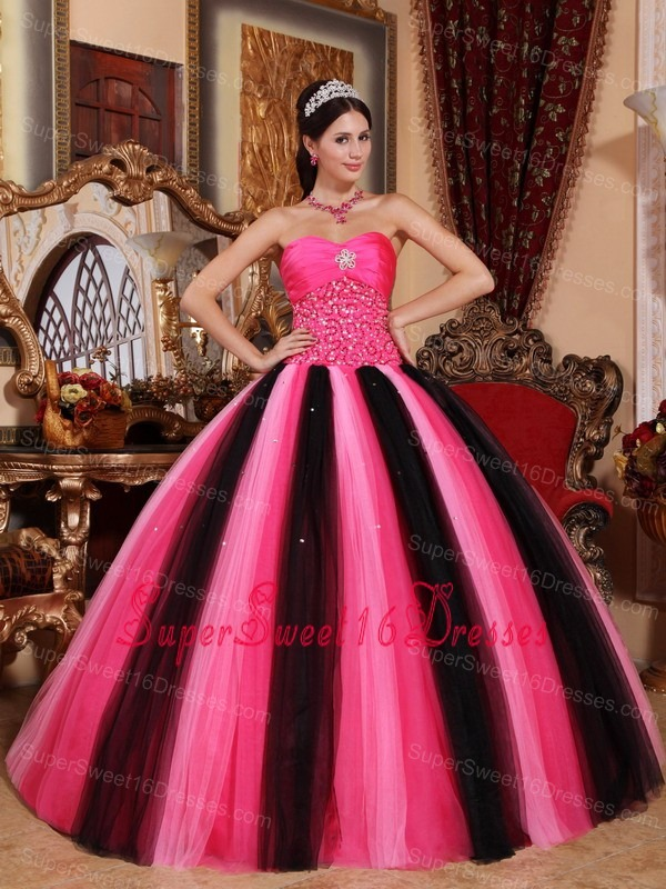 Modest Multi-colored Sweet 16 Dress Sweetheart Tulle Beading Ball Gown