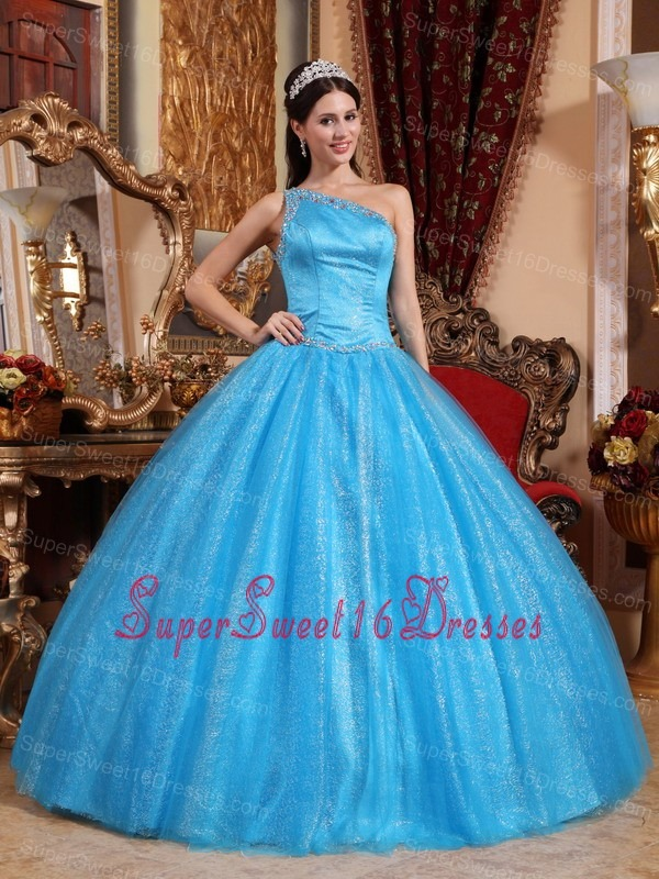 New Baby Blue Sweet 16 Dress One Shoulder Tulle and Taffeta Beading Ball Gown