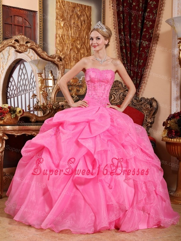 Wonderful Rose Pink Sweet 16 Dress Strapless Organza Appliques Ball Gown