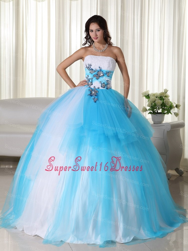Aqua Ball Gown Strapless Floor-length Tulle Beading Sweet 16 Quinceanera Dress