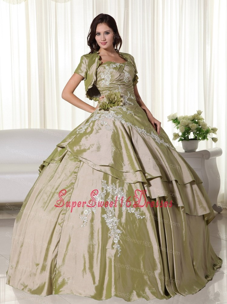 Olive Green Ball Gown Strapless Floor-length Taffeta Appliques Sweet 16 Dress