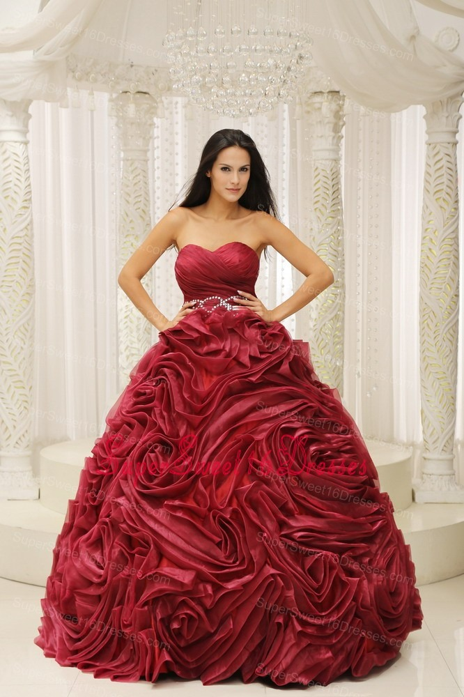 Wine Red Sweetheart Neckline Beaded Decorate Wasit Hand Made Flower 2013 Sweet 16 Dress For Formal Evening