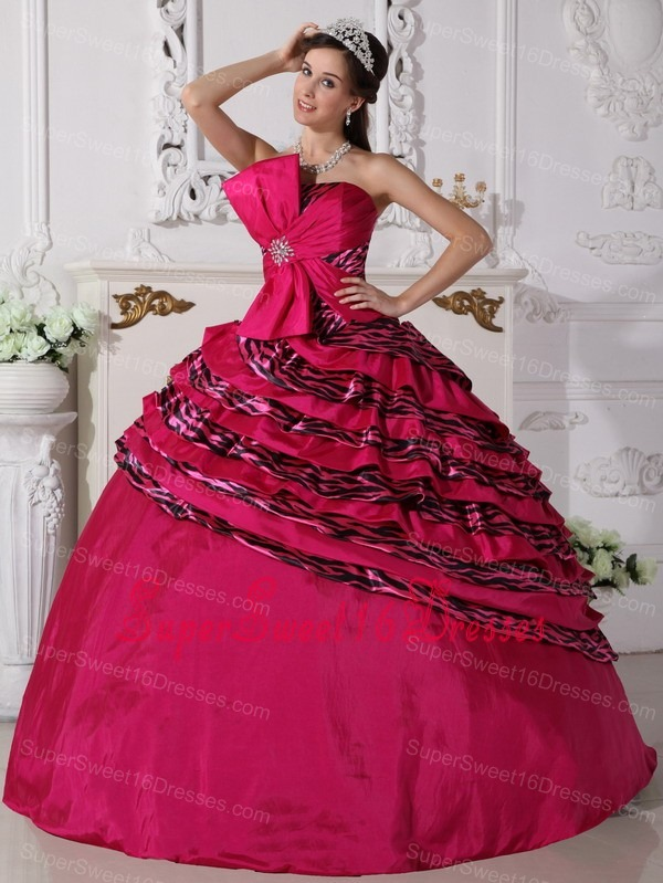 Wonderful Hot Pink Sweet 16 Quinceanera Dress Strapless Zebra Beading Ball Gown