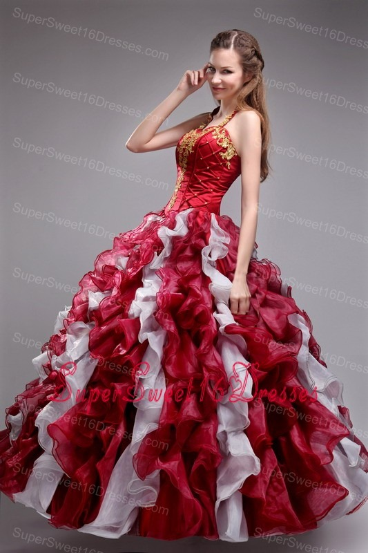 Cheap Wine Red Sweet 16 Dress Halter Orangza Applqiues and Ruffles Ball Gown