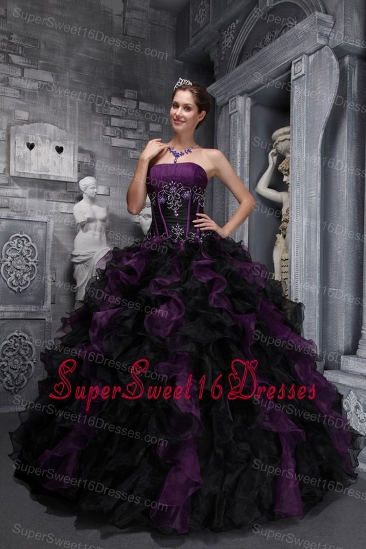Exclusive Dark Purple and Black Sweet 16 Dress Strapless Taffeta and Organza Appliques and Ruffles Ball Gown