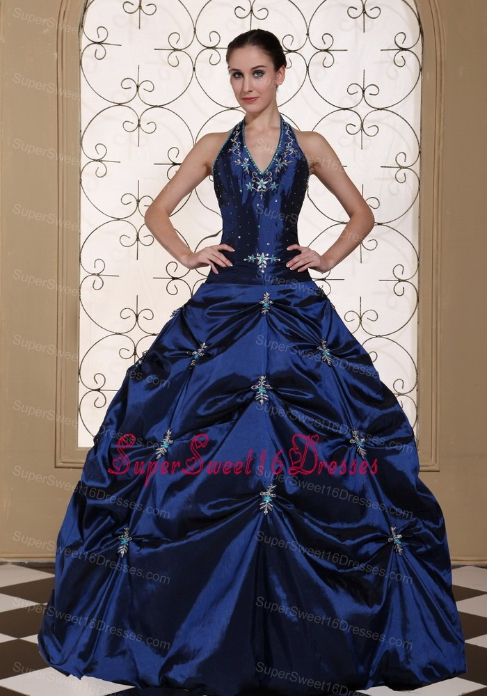 Halter Top Ball Gown Sweet 16 Quinceanera Dress Embroidery With Beading