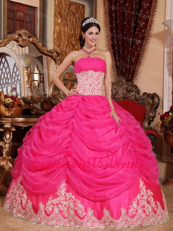 Lovely Hot Pink Sweet 16 Quinceanera Dress Strapless Organza Beading Ball Gown