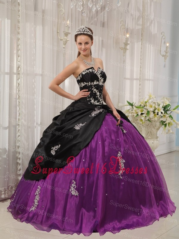 Modest Black and Purple Sweet 16 Dress Strapless Taffeta and Organza Apppliques Ball Gown