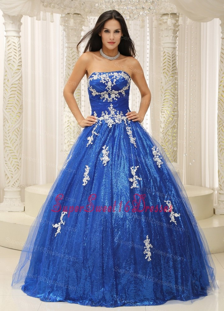 Royal Blue Sweet 16 Dress With Appliques Paillette Over Skirt Tulle In New Jersey