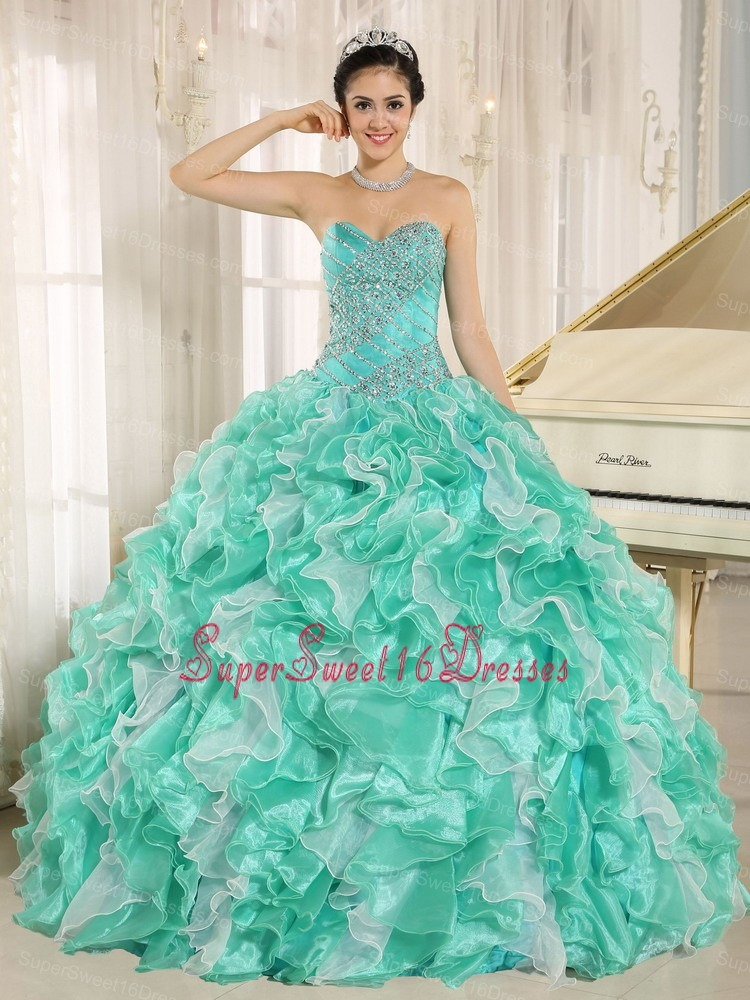 Turquoise Beaded Bodice and Ruffles Custom Made For 2013 Sweet 16 Dress In Anderson California