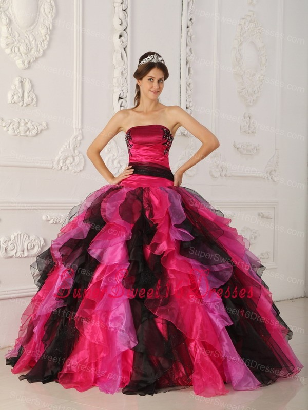 Wonderful Multi-color Sweet 16 Dress Strapless Organza Appliques and Ruffles Ball Gown