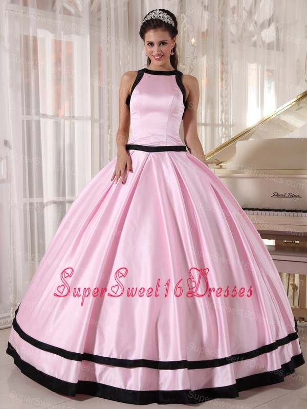 Affordable Baby Pink and Black Sweet 16 Dress Bateau Satin Ball Gown