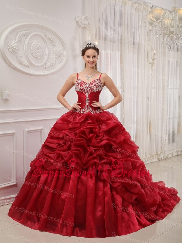 Brand New Wine Red Sweet 16 Dress Spaghetti Straps Court Train Organza Beading Ball Gown