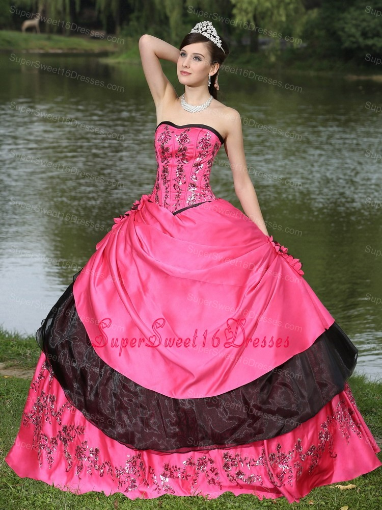 Hot Pink For 2013 Sweet 16 Quinceanera Dress Hand Made Flowers With Emdroidery